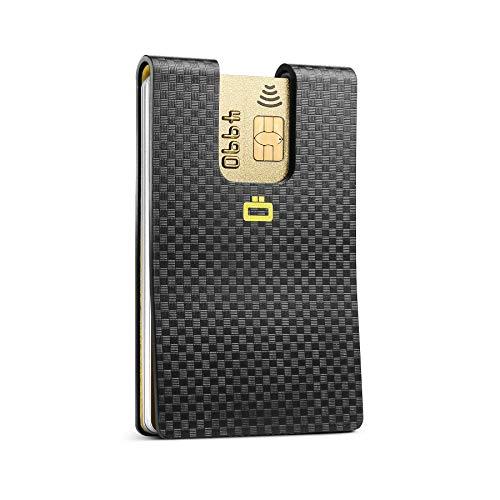 Ögon Smart Wallets - i3C Carbon Card Clip - Tarjetero Ultradelgado - Cartera con bloqueo RFID - Efecto de policarbonato de carbono