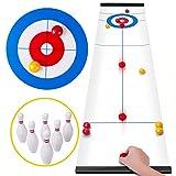 Rolimate Curling Juego Shuffleboard Juegos Familiares para niños y Adultos, Juegos de Mesa con 8 Rodillos 6 Bolos, Regalos de cumpleaños para 3 4 5+ Juegos de Viaje para niños Almacenamiento Compacto