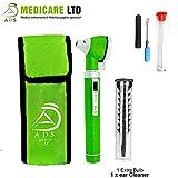 ADS Medicare Mini otoscope à fibre optique avec éclairage DEL pour examen et diagnostic, couleur verte, certifié CE
