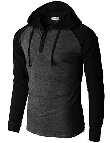 H2H Men's Casual Slim Fit Hoodie Henley Shirts Raglan Long-Sleeve with Pocket CHARCOALBLACK US L/Asia XL (CMOHOL074)