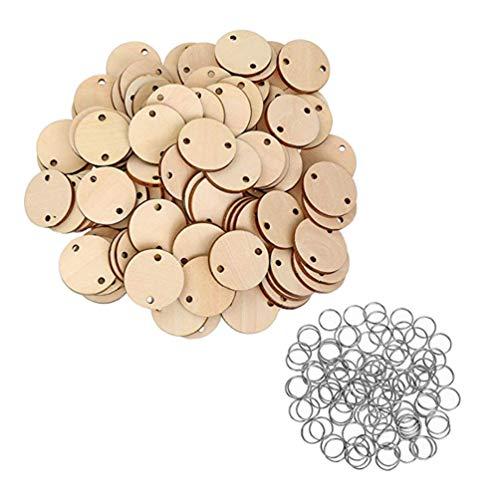 Healifty - Dischi rotondi in legno con anelli, promemoria, calendario, per famiglia e amici, tavola di compleanno, fai da te, 100 pezzi
