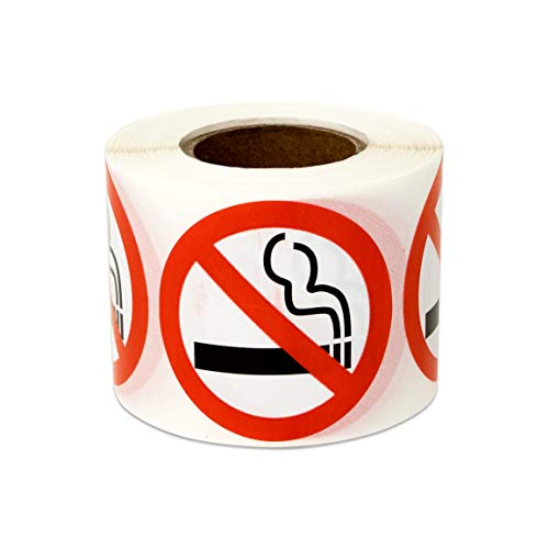300 Labels - No Smoking Sign Stickers for No Smoking Warning Caution Smoke-Free Workspace (1.5 inch Round - 1 Roll)