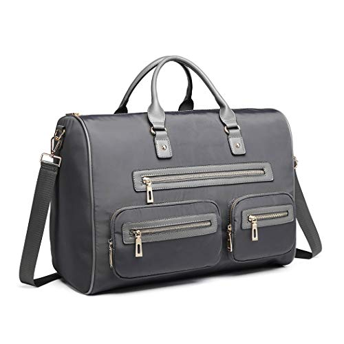 Miss Lulu Nylon Multi Pocket Hand Luggage Suitcase Travel Bag Carry-Ons Cabin Holdall Bag for Men and Women (Grey)