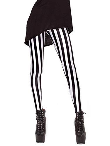 Nuofengkudu Mujer Estampados Leggins Largos Elasticos Cintura Alta Lisos Mallas Deporte Colores Hippie Transpirable Push up Yoga Pantalones (Negro Raya,Talla única)