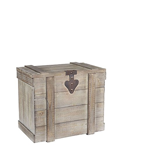 Household Essentials White Washed Rustic Decorative Wooden Trunk, Medium