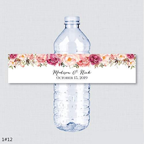 300PCS Custom Name Hochzeit Wasserflasche Etiketten Mädchen Geburtstagsfeier Rustikale rosa Blume Custom Wasserflasche Etiketten Dekoration