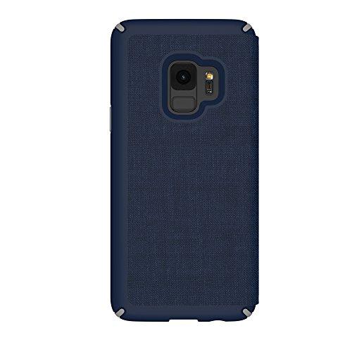 Speck 110576-7361 Presidio Folio Case with Hidden Card Slot for Samsung Galaxy S9 - Heathered Eclipse Blue/Gunmetal Grey