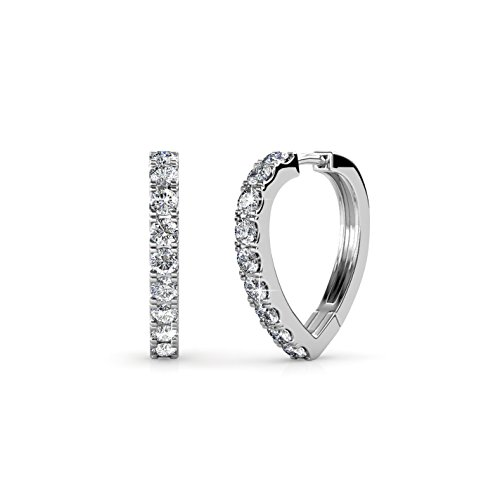 Cate & Chloe Waverly Carefree 18k White Gold Plated Chandelier Hoop Earrings with Swarovski Crystals