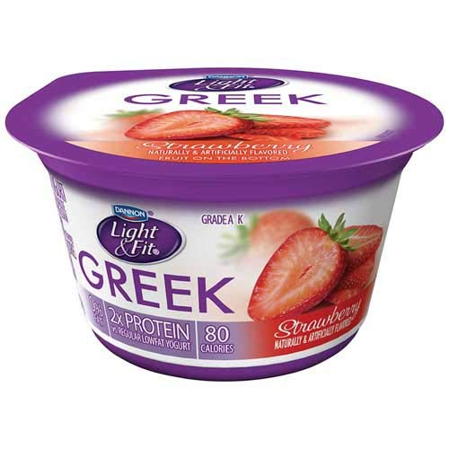 Light and Fit Strawberry Greek Nonfat Yogurt, 5.3 Ounce -- 12 per case.