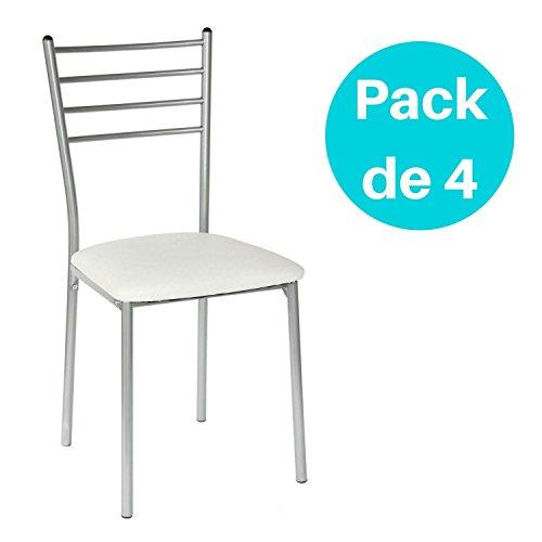 Lote de 4 sillas de cocina Basik blanca