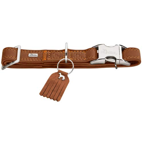 HUNTER LUCCA ALU-STRONG Hundehalsung, Hundehalsband, Aluminium Steckverschluss, Leder, weich, M, braun