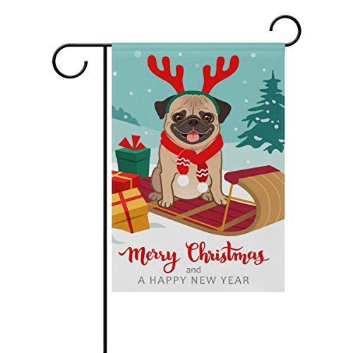 Top Carpenter Christmas Pug Dog Double-Sided Printed Garden House Sports Flag-12x18(in)-Polyester Decorative Flags for Courtyard Garden Flowerpot