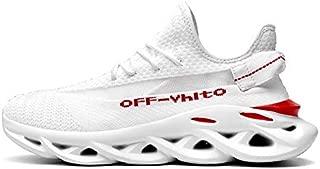 SR trade-YUNTU Shoes Men's Sports Shoes Men's Sports Shoes Fashion Breathable Casual Shoes (Color : 2909 White, Shoe Size : 9.5)