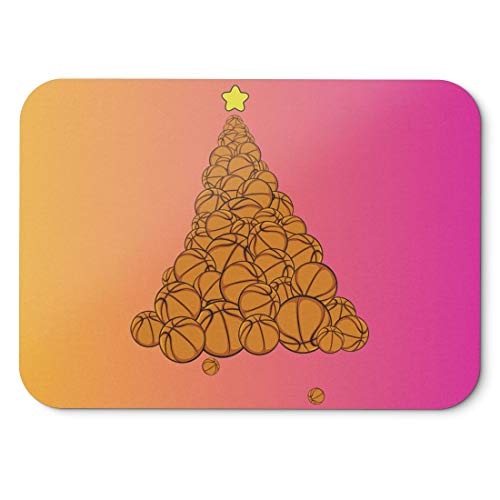 BLAK TEE Basketball Ball Christmas Tree Mouse Pad 18 x 22 cm in 3 Colours Pink Yellow