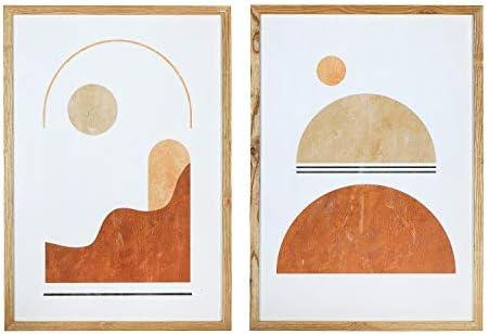 Main Mesa Wood Framed Handmade Paper Wall Art D cor Set of 2 19 75 x 27 5 Abstract Print product image