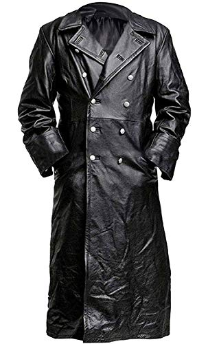 German Military Officer Uniform WW2 Classic Faux Leather Black Long Trench Coat for Men (Large)