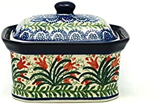 Polish Pottery Cake Box - Small - Crimson Bells