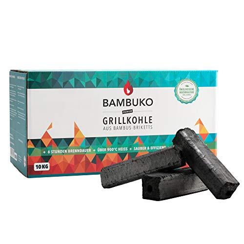 McBrikett BAMBUKO Premium Grillkohle, 10 kg Bio Bambuskohle, rauchfrei & sehr heiß
