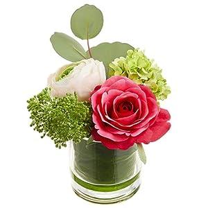 5.25″ Silk Ranunculus, Rose & Snowball Flower Arrangement w/Glass Vase -Beauty/Pink (Pack of 6)