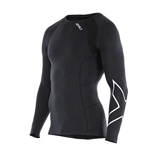 2XU Men's Long Sleeve Compression Top, Black/Silver X, X-Large