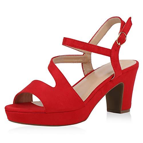 SCARPE VITA Damen Plateau Sandaletten Riemchensandaletten Blockabsatz Schuhe High Heels Sandalen Sommerschuhe 192162 Rot Rot Total 37