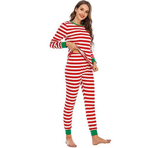 Damen Schlafanzug Weihnachten Streifen Lose Casual Große Größe Langarm Hosen...