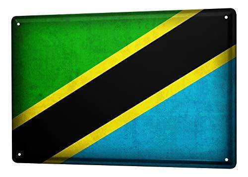 LEotiE SINCE 2004 Blechschild Dekoschild Küche Garage Welt Reise Tansania Flagge Wand Deko Schild 20X30 cm