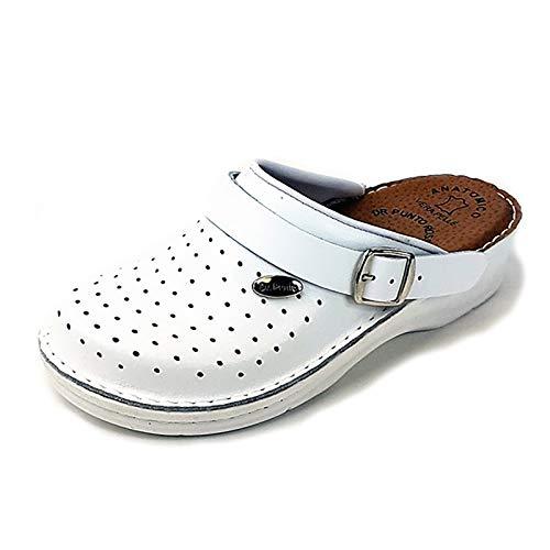 Dr Punto Rosso BRIL D53 Zuecos Zapatos Zapatillas de Cuero para Mujer, Blanco, EU 40