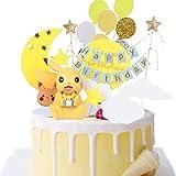 Decoración para tarta de cumpleaños, decoración de tarta de Pokémon, fiesta de cumpleaños, fiesta de Pokémon Pikachu