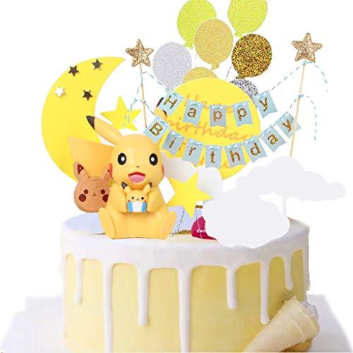 Tortendeko Geburtstag, Pokémon Cake Topper Geburtstags Party Pokémon Pikachu Cupcake Figuren, Party Kuchen Dekoration Lieferungen für Kinder Geburtstag Baby Mädchen Junge