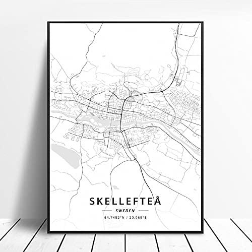 Akersberga Kasrlskrona Upplands Vasby Sklleftea Vaxjo Umea Canvas Art Map Poster ?ZQ-396? Ingen ram poster 40x50cm