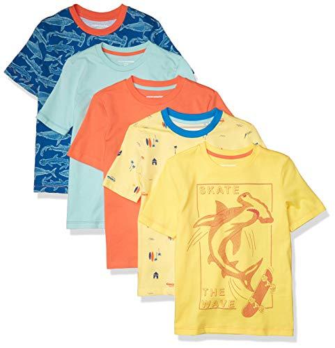 Amazon Essentials Short-Sleeve T-Shirts Fashion, Paquete de 5 Shark, 6-7 años, Pack de 5