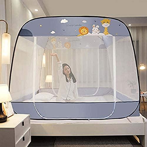 Mosquiteras plegables para interior o dormitorio, carpa portátil de viaje con 3 aberturas, cortina de cama de camping de fondo completo para niñas, niños, adultos, 2 x 2,2 m