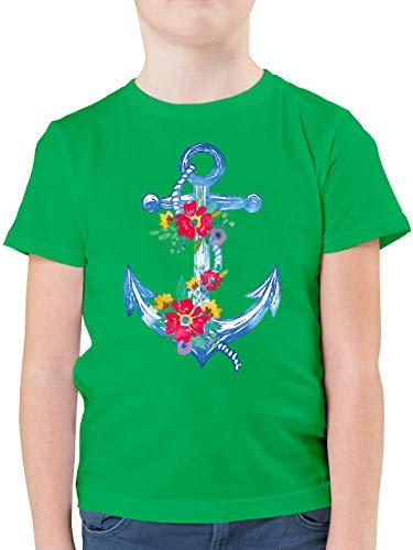 Up to Date Kind - Blauer Anker mit Blumen - 164 (14/15 Jahre) - Grün - F130K_Shirt_Jungen - F130K - Kinder Tshirts und T-Shirt für Jungen
