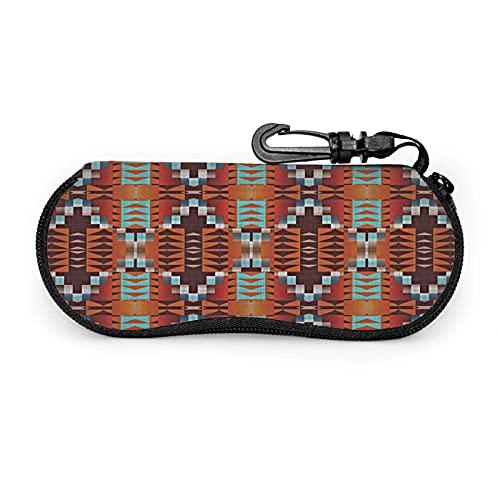 Gafas de sol con cremallera suave caso caso de anteojos con clip para cinturón rústico nativo americano cabina mosaico ultra ligero Gses bolsa