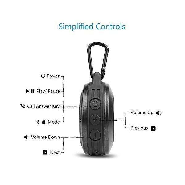 Bluetooth Speaker, MIFA F10 Portable Speaker with Enhanced 3D Stereo Bass Sound, IP56 Dustproof Waterproof, 10-Hour Playtime, Built-in Mic, Micro SD Card Slot, USB Audio Input 4