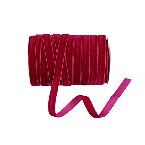 Nicole Knupfer 200 MeterSamtband Schleifenband, 10mm Breite Samtbandrolle Samt Dekoband GeschenkbandSchmuckband fürDIY Basteln Geschenk (Weinrot)