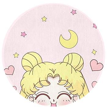 MOANDJI Sailor Moon Smile Soft Circular General Purpose Floor Mat Or Rug Use in Front of Bedroom Kitchen Bath Tub Toilet