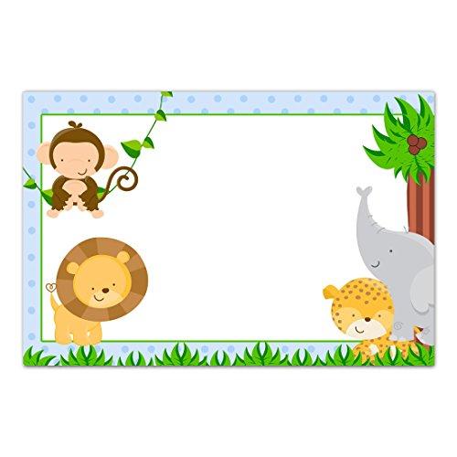 30 tarjetas de agradecimiento en blanco invitaciones animales de la selva cumpleaños baby shower azul papel fotográfico