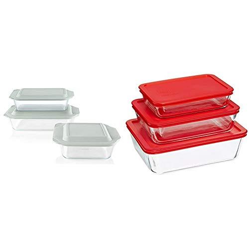 Pyrex Deep Baking Dish Set (6-Piece, BPA-Free Lids) & Rectangular Food Storage, Red, (6 Pack)