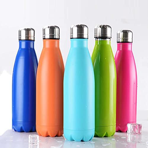 Botella de agua fría con aislamiento térmico para exteriores, botella deportiva de bolos de acero inoxidable 304, botella de agua fría con aislamiento térmico, botella de Coca Cola 500ML,Naranja,500ML