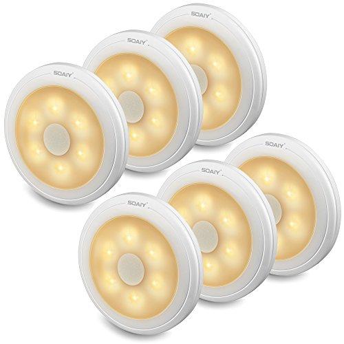 [neue Version] SOAIY 6 Stück LED Nachtlicht mit Touchsensor Dimmbar Batteriebetrieben Touch Lampe Schrankleuchte Küchenlampe Memory-Funktion Warmweiß 2800K