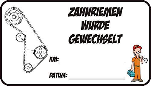 NetSpares 122474946 5 x Aufkleber Zahnriemen wurde gewechselt KM Datum Inspektion Service Sticker