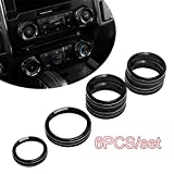 BA-BOLING 6PCS Black Aluminum Alloy Car Inner Air Conditioner & Audio & Trailer & 4WD Switch Knob Ring Button...