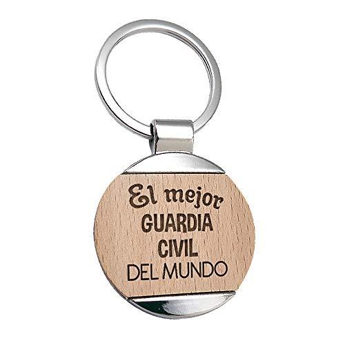 Llavero Guardia cCivil El Mejor Guardia Civil del Mundo - Llavero de Metal Grabado en Madera - Regalo para Guardias Civiles Personalizado