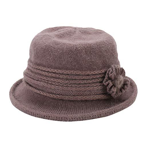 Yue668 Épais Chapeau De Pot De Fleur Chaude, Chapeau De Mode Femme, Bonnet Hiver Décontracté En Laine Bonnet Ourlet Bonnet De Ski