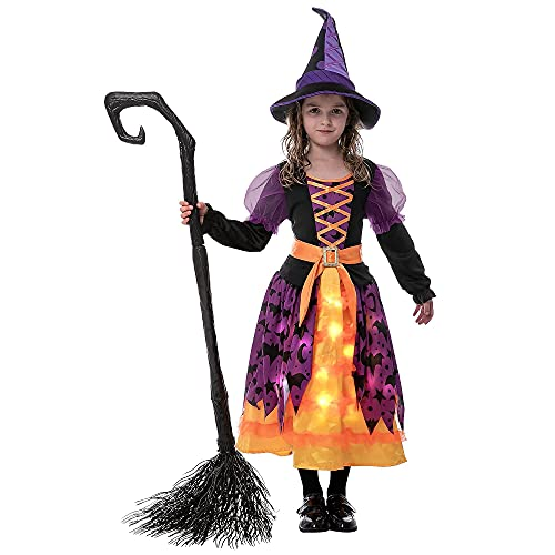 Hallowen Child Girl light up bat witch tutu costume for kids,Tollders (Small (5-7yr))