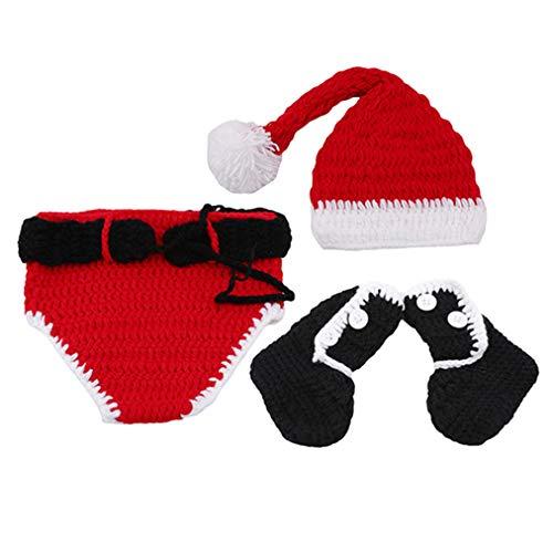 Sevenfly Unisex Weihnachtsbaum Gestrickt Häkeln Beanie Weihnachtsmütze Weihnachten Hosen Schuhe Baby Fotografie Requisiten (3 stücke)
