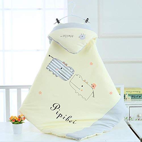 Neutral Swaddle Blanket Baby Sleeping Bag 6-18 Months, Newborn Quilt, Warm, Out, Autumn, Winter@Hippo Yellow_95*95 Child Comfort Quilt
