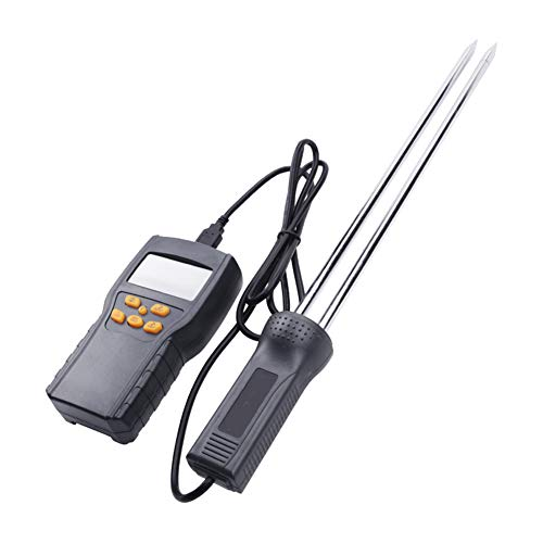 Digitales Feuchtigkeitsmesser, Korn-Feuchtigkeits-Prüfvorrichtung-Digital-Feuchtemessgerät Ultra-Long-Sonde Digitales Feuchtigkeitsmesser, für Korn/Hay Moisture Test (Schwarz)